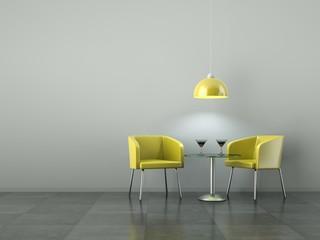3d Rendering gelbe Stühle vor grauer Wand