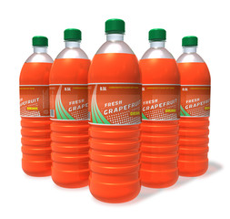 Set of grapefruit drinks in plastic bottles