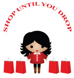 Lady shop until you drop isolated on white background