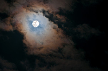 Super Full Moon in Clouds