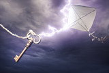 Fototapety kite getting struck by a bolt of lightning
