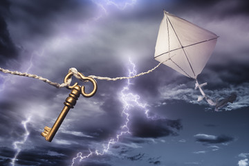 kite with a key flying in a storm