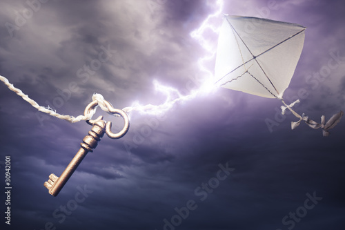 kite getting struck by a bolt of lightning - 30942001