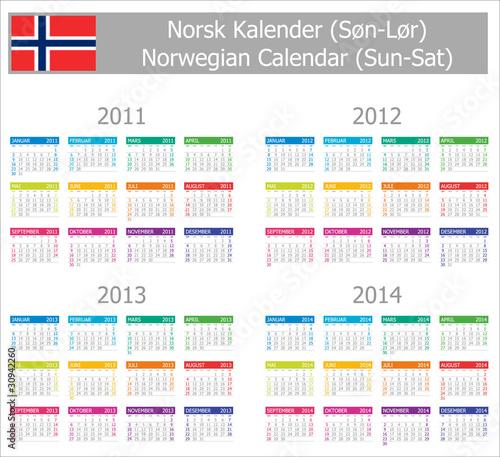 "2011-2014 Type-1 Norwegian Calendar Sun-Sat"" Stock image and royalty ..."