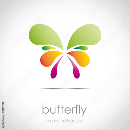 Logo butterfly in drops with a color gradient # Vector