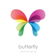 Logo rainbow butterfly  # Vector