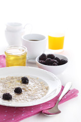 Oatmeal with honey and blackberries isolated on white background