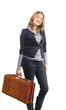 Woman with vintage leather suitcase