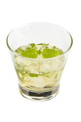 Mint julep drink isolated on white background