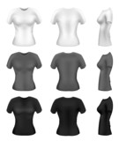 Women's t-shirt templates in diferent colors