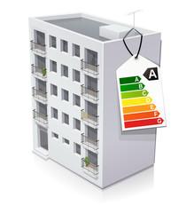 Immeuble et son étiquette énergie de classe A (reflet)