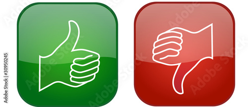 Thumb up and thumb down icons