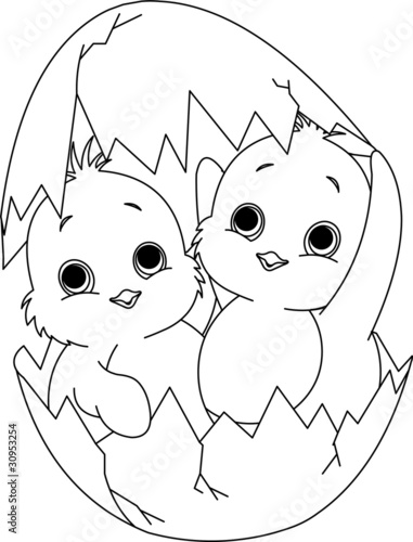 Two Easter chickens in the egg. Coloring page