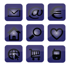 icon set dark blue