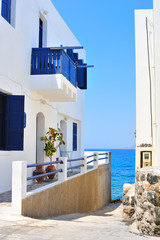 Street sloping to the sea in a Greek town