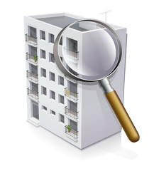 Immeuble à la loupe (reflet)