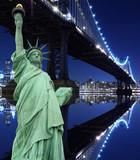 Manhattan Bridge and The Statue of Liberty at Night Lights - 30956064