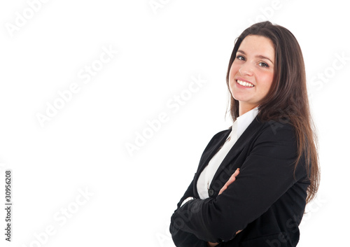 Portrait of a smiling businesswoman isolated on white