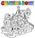 Coloring book with shipwreck - 30956627