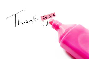 Thank you with hightlighter pen