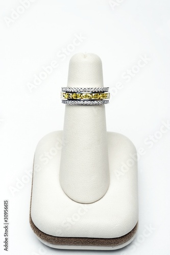 3 platinum stackable rings with 2.75 carat yellow oval diamonds and 1.00 carat full cut diamonds