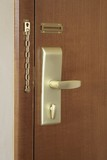 Door handle and lock of a hotel room