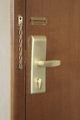 Door handle and lock of a hotel room