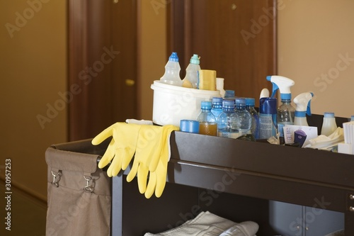 Cleaners trolley in a hotel