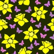 Seamless pattern with daffodils and butterflies