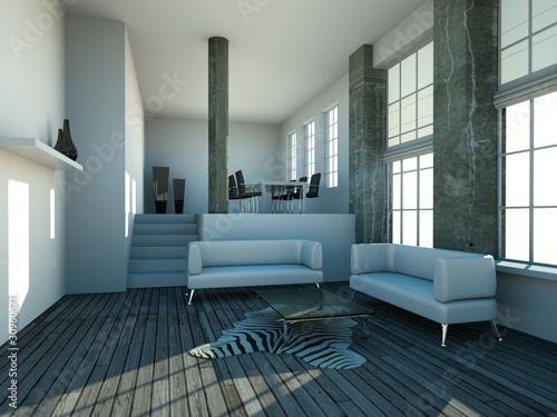 loft grau weiss wohn und esszimmer stockfotos und lizenzfreie bilder auf bild. Black Bedroom Furniture Sets. Home Design Ideas