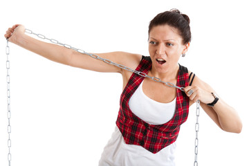 woman tears steel chain