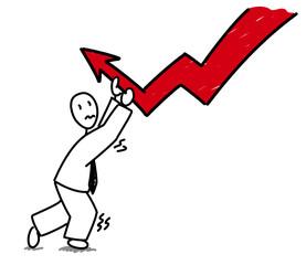 Homme d'affaire luttant contre la déflation