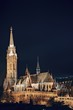Night cityscape of the Matthias Church in Budapest, capital of Hungary