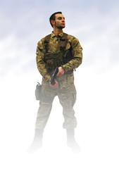 patriot soldier in fog