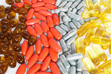 colorful vitamin and medicine pills