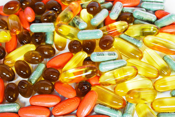 colorful vitamin and medicine pills