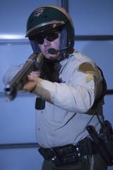 Nightwatch patrolman with rifle