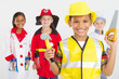 cute little children in career uniforms