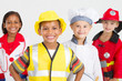 happy kids dressing up in job costumes