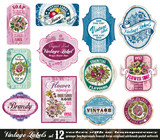 Etikety Vintage Collection - Set 12