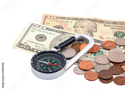Business navigation (compass and money on white background)