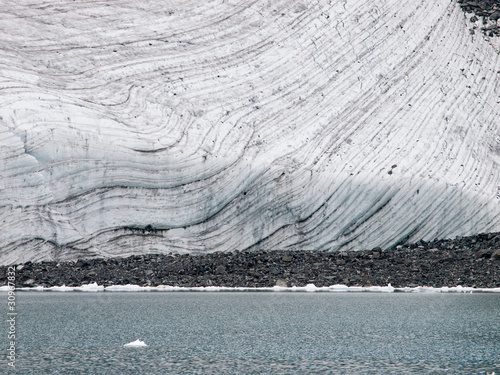 Striped glacier close up