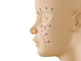 Neutral face profile with aesthetic surgery sign poster