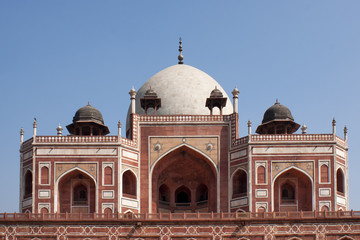 Upper structure of the Humayun tomb peeping over the edge.