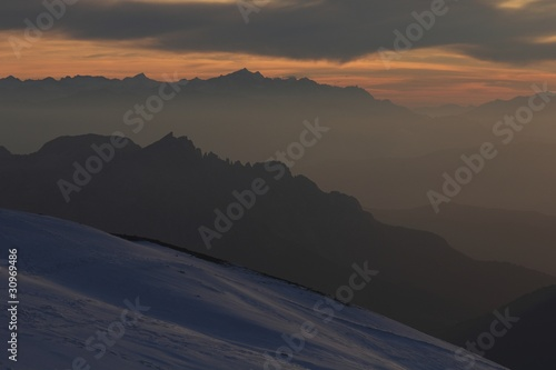 Marmolada Summit, evening view to the West, Italy, Dolomites