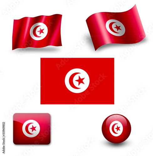 tunisia flag icon set