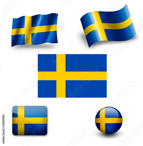 sweden falg icon set
