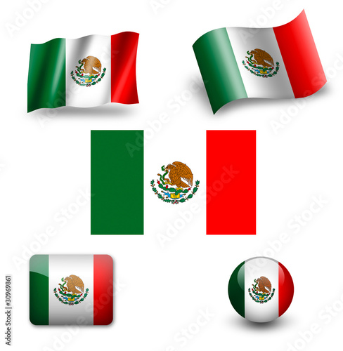 mexico flag icon set