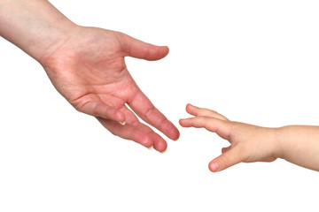 two hands, mother reaching for son