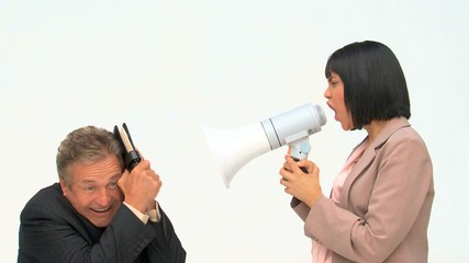 Asian business woman shouting